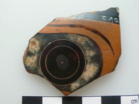 Fragment of an Attic black-figure cup showing part of a large eye