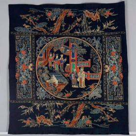 Tablecloth with garden scene and taoist symbols