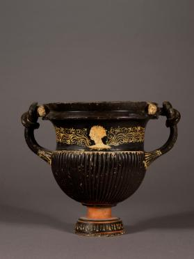 Gnathia-ware krater with knotted handles and female heads
