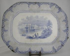 "Platter in ""British America"" pattern with scene ""Quebec"""