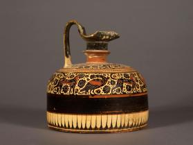 Corinthian black-figure lidded-oinochoe with animal friezes