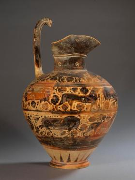 Corinthian black-figure oinochoe with animal friezes