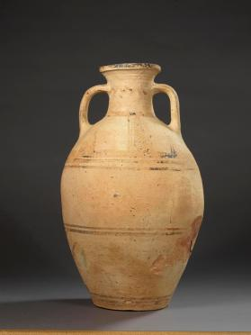 Protogeometric neck-amphora with bands and cross-hatched triangular motifs