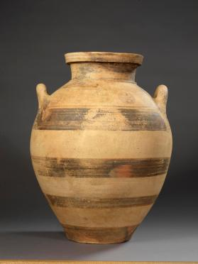Amphoroid jar with dark bands