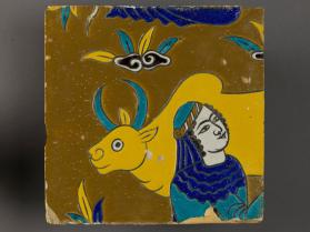 Tile of woman and cow from spandrel frieze