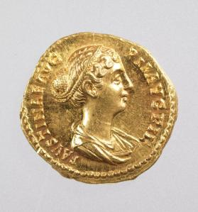 Aureus coin with bust of Faustina II, daughter of Antoninius Pius and wife of Marcus Aurelius