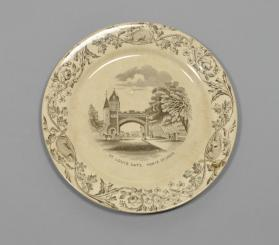 "Plate in ""Quebec"" pattern with scene ""St. Louis Gate"""