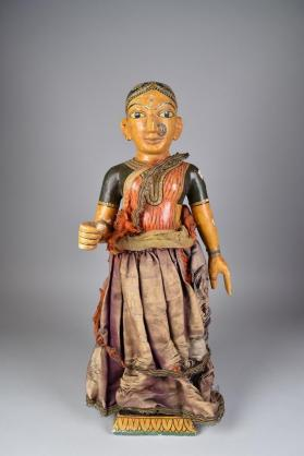 Standing female wooden figure