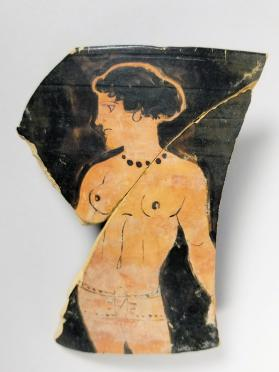 Fragment of a Lucanian red-figure skyphos with depiction of Atalanta