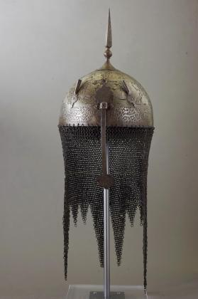 "Kulāh-khūd helmet from set with shield and ""bazu-band"" arm-guard"