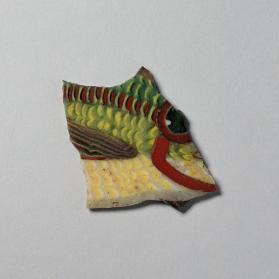 Mosaic inlay fragment with the eye and upper gills of a fish