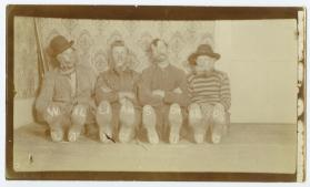 Frank, Bill, John Dudley, and Murray Williamson in costume