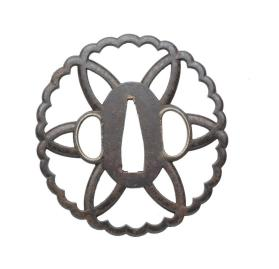Sukashi tsuba (sword guard) in form of  6 openwork petals within 30-lobed rim