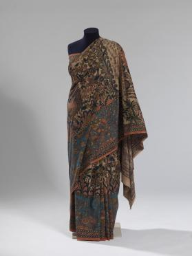 Woman's sari with scenes from the epic poem the Ramayana