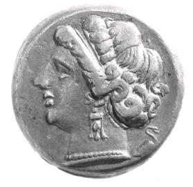Didrachm with diademed head of a nymph facing left and a heron facing right