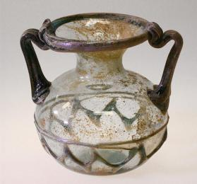 Jar with two handles and zig-zag trailed decoration