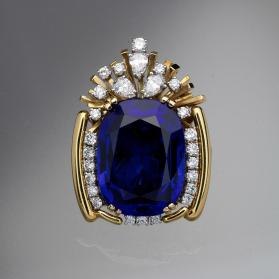 Tanzanite and Diamond Brooch