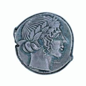 Tetradrachm with laureate head of Apollo and reverse of lion and barley kernels