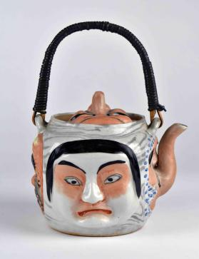 Banko-ware teapot with Noh and Kyogen masks