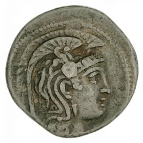 """New Style"" tetradrachm with Athena in triple crested helmet"