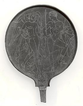 Mirror with goddess lasa and young warrior on back