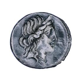 Denarius coin with head of Venus (obverse) and Aeneas carrying Anchises and palladium  (reverse)