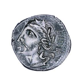 Denarius coin with head of Italia on obverse