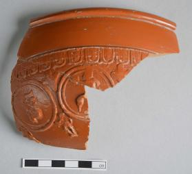 Two fragments of a Samian ware bowl