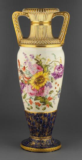 Monumental Amphora-shaped vase with botanical depictions of various flowers