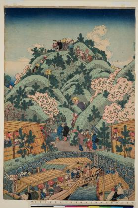 Right part of left diptych of Naniwa Tempōzan fūkei (浪花天保山風景) View of Tempōzan Park in Naniwa