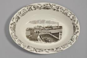 "Bowl in ""Quebec"" pattern with the scene ""St. John's Gate"""
