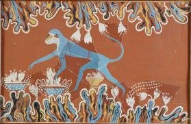 Reproduction of a fresco reconstruction depicting a monkey picking crocus flowers, from Knossos, Greece