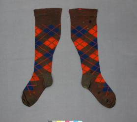 Man's left sock of a pair of socks worn as part of full Highland dress kilt outfit