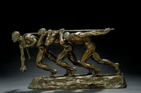 Figural sculpture, Three men pulling on a rope