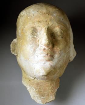 Mummy mask of a male, possibly a priest with shaven head