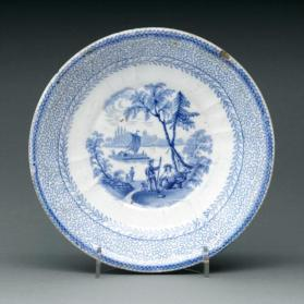 "Saucer in ""British America"" pattern with scene ""Navy Island from the Canada Side"""