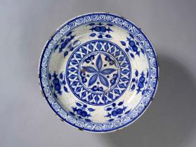Dish with blue and white design