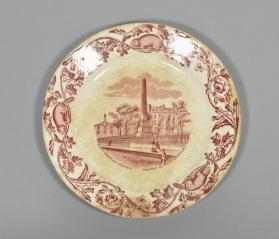 "Plate in ""Quebec"" pattern with scene ""Wolfe & Montcalm Momument"""