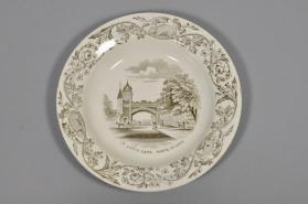 "Soup plate in ""Quebec"" pattern with scene ""St. Louis Gate"""