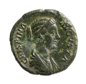 Dupondius/as coin with bust of Crispina, wife of Commodus, facing right