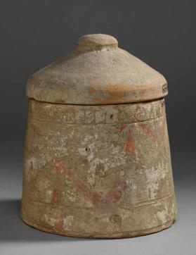 Lid of cinerary urn with painted decoration