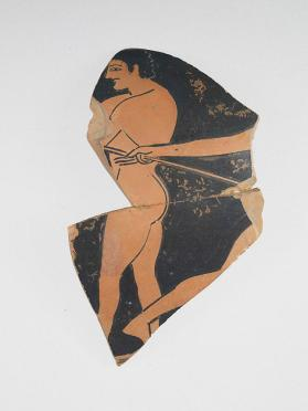 Red-figure cup fragment with parts of two athletes