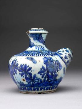 "Blue and white ""Kendi"" (South Asian water-pouring vessel) with spout used as ""kalyan"""