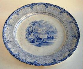 "Plate in ""British America"" pattern with ""Scene on the St. Lawrence"""