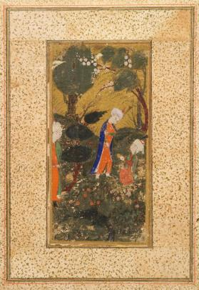 Manuscript painting of prince with attendants in landscape, Gul-u Mul?
