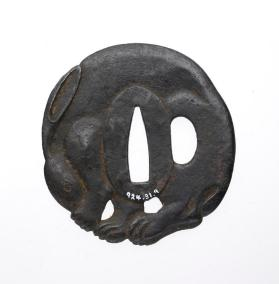 Tsuba (sword guard) with a Nikubori rabbit