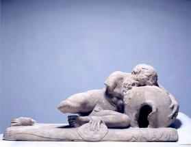 Fountain sculpture of sleeping Silenus