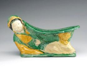 Cizhou Guantai ware? pillow in fom of a reclining woman