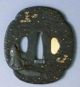 Tsuba (sword guard); Decoration of carp & water weeds