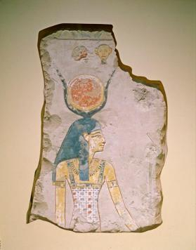 Raised relief fragment with image of Hathor